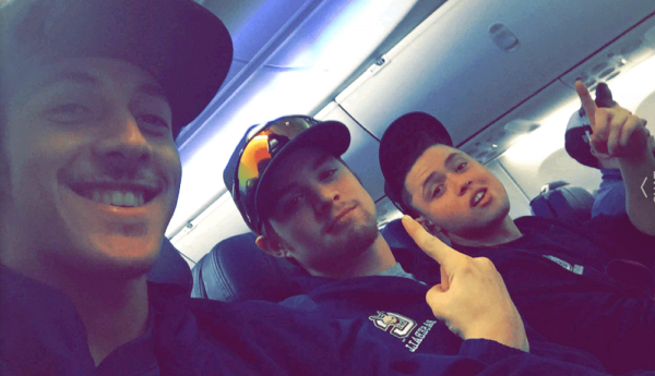 Bobby Clemente, Jake St. Mary, and Travis Bigelow settled into their seats pre-flight. (Photo by Bobby Clemente)
