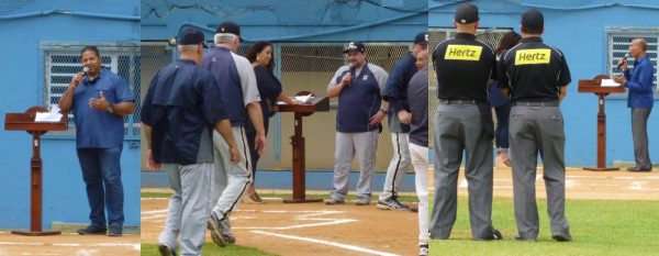 Mr. Luis Clemente, Coach Carbone and the SUNY Canton coaching staff, and Mayor Carlos Méndez Martínez speaking to the teams and fans prior to the first game during the Opening Ceremony.  (Photos by Mr. Fred Saburro)